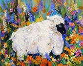 Sheep Art  Original Painting 20 x 24 Art by Elaine Cory