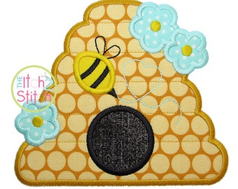 "Beehive Applique Design, Shown with our ""Happy Day Floss"" Font NOT Included, Sizes 4x4, 5x5, 6x6 and 7x7  INSTANT DOWNLOAD now available"