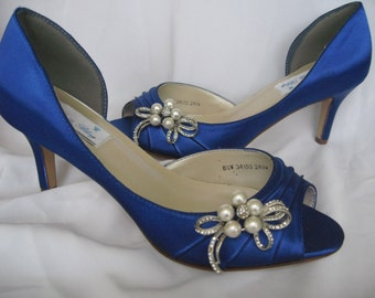 Blue Bridal Shoes with Crystal Brooch Blue Wedding Shoes Over 100 Custom Color Choices
