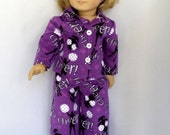 Cheerleader Purple Flannel Pajamas-Handmade to Fit 18 Inch Dolls Like American Girl Doll