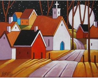 """Fine Art Print by Cathy Horvath 8 1/2""""x11"""" Modern Folk Art Village Giclee Full Moon Night Town Road Landscape Archival Artwork Reproduction"""