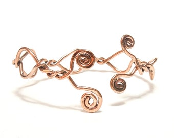 Copper Bracelet, Adjustable, Cuff, Bangle, Women, Mirror Finished design, BLB 31