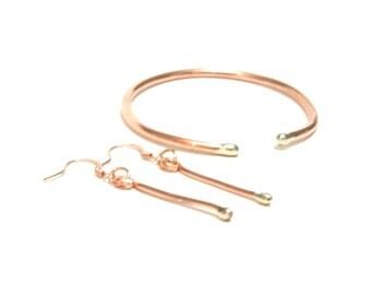 Copper Bracelet and Earrings Set, Silver, Cuff, Bangle, Women, Men, Teen