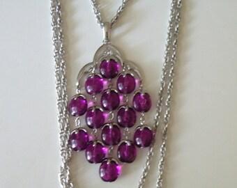 Trifari purple plastic lucite dangle drops necklace. Silver plate.
