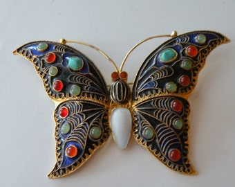 MMA gold plated sterling silver jeweled enamel butterfly pin brooch