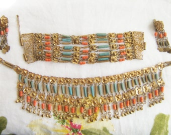 Vintage 1920's Egyptian Revival Art Deco filigree coral faience turquoise bead choker necklace bracelet and dangle earrings parure set