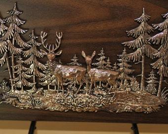 Copper Deer on Wood Plaque