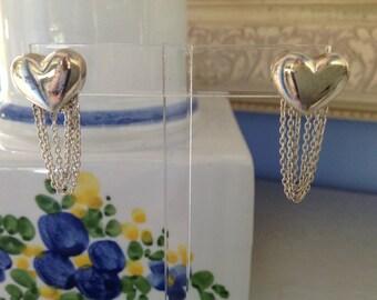 Sterling Silver Pierced Heart Earrings