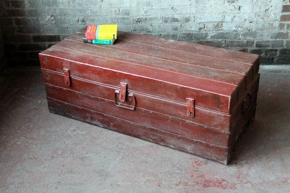 Vintage Indonesian Metal Industrial Red Rusty Trunk Suitcase
