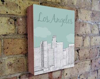 Los Angeles - Los Angeles Art - Los Angeles California - LA Illustration Art - LA Art - Wood Block Wall Art Print - City Art