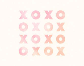 Hugs and Kisses 'XOXO' Digital Print - Perfect for Baby Girl Nursery, Toddler Girl Room or the Home - Pink, Peach, Orange Watercolor