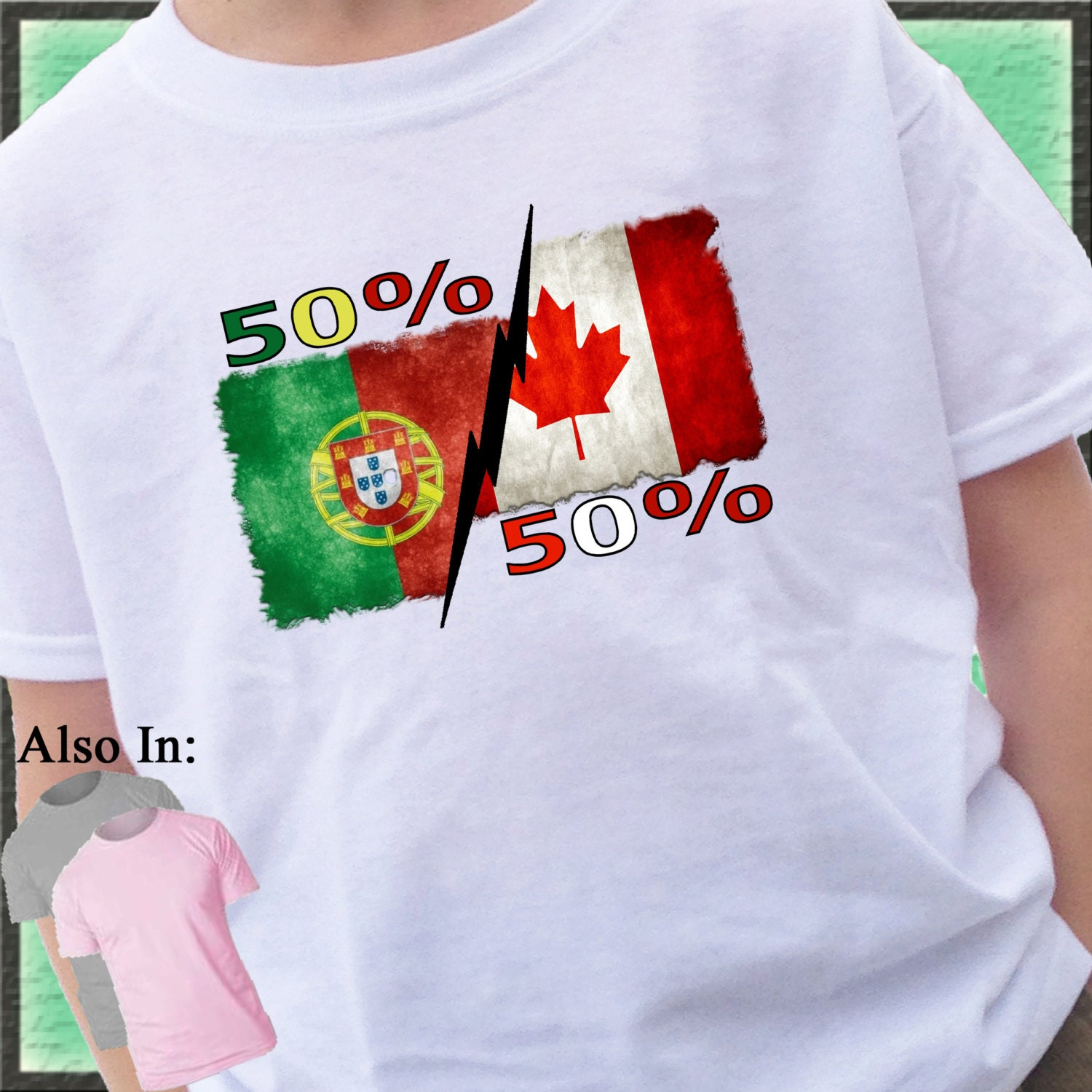 50 Portuguese 50 Canadian Distressed Flag Shirt Or