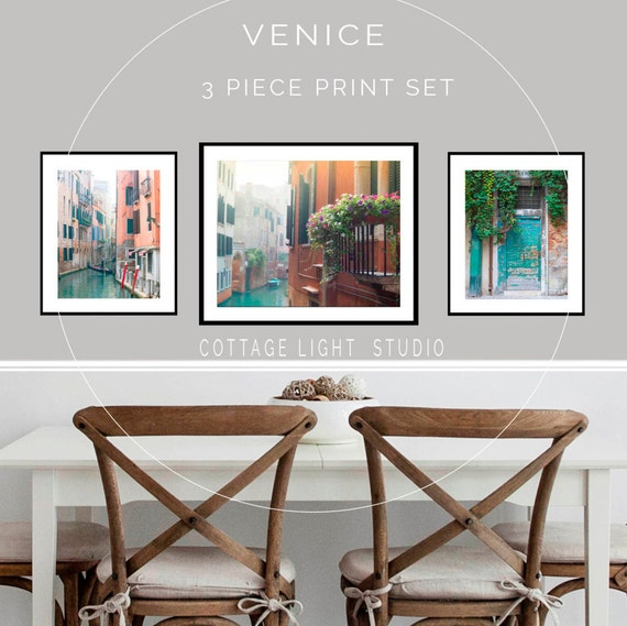 Venice Photography, Three Piece Print Set, Venice Canals, One 16x20 and Two 11x14 Inch Prints