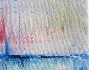 """Parts of Rainbows, Original, Blue and Pink, Abstract Acrylic, Very Small painting 4""""x5"""""""