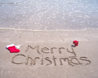 Coastal Christmas & Holiday Cards with Message Written in Sand