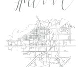 Custom Prints for Hilary: 8x10 Calligraphy 'Hood Maps