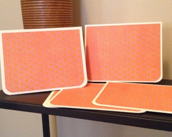 Set of 5 Preppy Pink and Orange Notecards