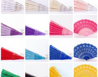 Hand FAN, Folding fan, Wedding fan, Lace Fan, Bridesmaid Accessory, Feng Shui Gift, Bouquet, Photo prop, Made in America - Any color