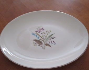 "Vintage Retro 13"" Oval Serving Platter BEAUTIFUL SPRING Floral Gorgeous Colors"