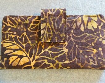 Fabric Wallet - Brown w/Gold Leaves Batik