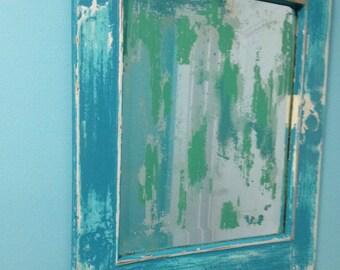 Vintage Distressed Mirror Turquoise Sea Coastal Beach House Wall Decor by CastawaysHall - READY TO SHIP