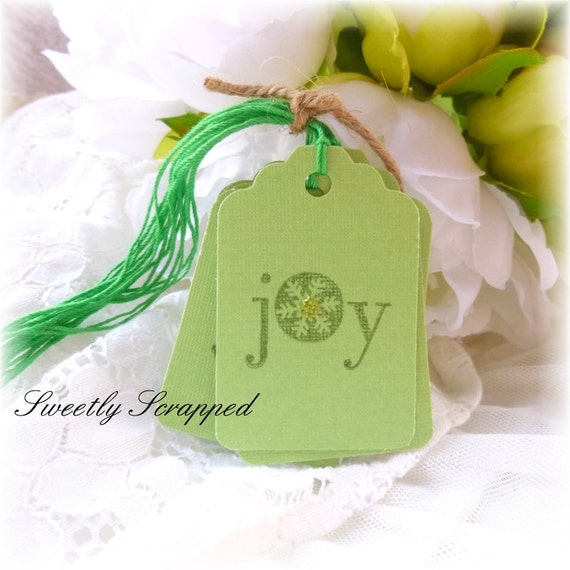 JOY Christmas Tags, Green and Gold, Glittered Centers, Snowflake