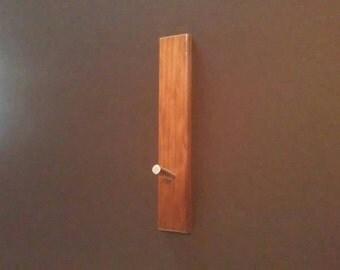 Coat / Towel Hook - Wood and Stainless Steel.