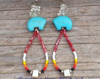 Native American Beaded Earrings - Zuni Bears - Dangle Hoop - Ruby Red