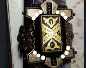 Victorian Memento Mori Mourning Ring in Black, Gold and Antiqued Ox Brass