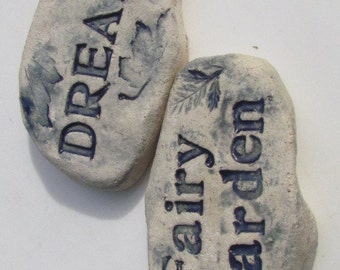 Ceramic herb plaque plant markers - Fairy Garden Stone Sign Fairy Art Original Outdoor By