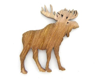 Moose, Moose Pin, Moose Magnet, Bull Moose, Moose Cut Out, Moose Ornament, Wood Moose, Wooden Moose, Wildlife Animal, Zoo Animal, Woodwork
