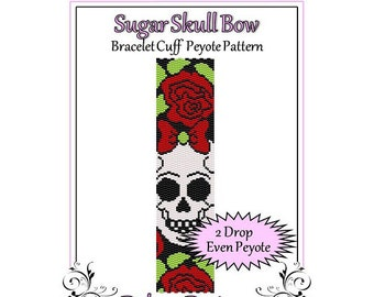 Bead Pattern Peyote(Bracelet Cuff)-Sugar Skull Bow