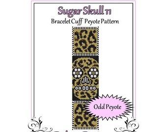Bead Pattern Peyote(Bracelet Cuff)-Sugar Skull 11