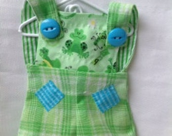 Lilliegiggles. Brown Baby Rag Doll Clothes Green Frog overalls