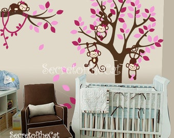 Nursery wall decal - Wall Decals Nursery -  Tree and Monkeys Decals - Baby Tree Decal - Girly Monkey Decal - Nursery - Girl decal