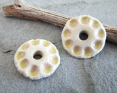 Yellow and Peach Porcelain Flower Charms