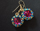 Hot Pink Gold and Turquiose Riviol Earrings