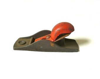 Vintage Small Knuckle Plane ... Cast Iron Planer, Wood Planer, Painted Red Antique Collectible Hardware, Manly Vintage Carpentry Tool