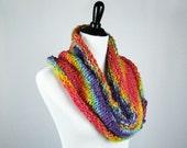 Rainbow Cowl, Hand Knit Cowl, Infinity Scarf, Textured Wool Yarn, Warm, Handmade Gift, Cozy Wrap, Winter Wear, Bright Rainbow Colors, Soft