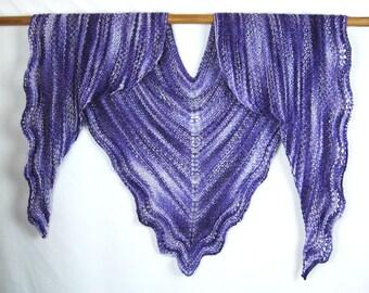 Hand Knit Lace Edged Shawl, Hand Dyed Silk Yarn, Soft Ruffles, Purple Lavender, Handmade, Triangular Shawl, Luxurious Wrap, Elegant Gift