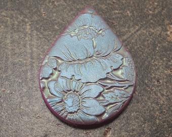 Pastel Poppy Pendant Unique Teardrop Pendant Seafoam Green Lavender Sage Blue Floral Pendant
