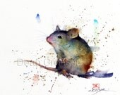 MOUSE Watercolor Print, Mouse Art Painting by Dean Crouser