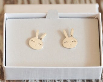 Rabbit Earrings, Bunny Earrings, Stud Earrings, Sterling Silver, Kids Jewelry, Children Jewelry, Girl Gift, Birthday Gift, Christmas Gift