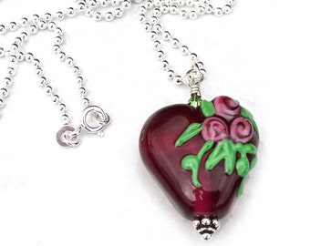 Heart Necklace Pendant Red with Flowers Sterling Silver