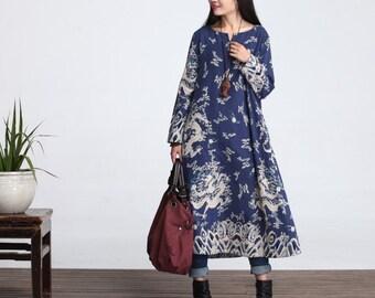 Casual Loose Fitting Long Sleeved Cotton Long Dress Blouse- LYQ 028 Women Maxi dress(M to Plus Size XL)