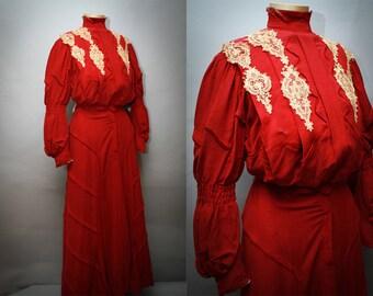 Antique Edwardian Dress - 1890s Burgundy 2 Piece  Turn of Century Dress