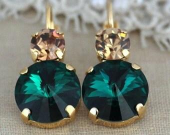 Emerald Earrings,Swarovski Earrings,Emerald Drop Earrings,Emerald Dangle Earrings,Gift for her,Bridesmaids Earrings,Emerald Wedding