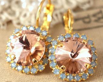 Blush Earrings,Swarovski Blush Pink Earrings,Pink Aqua Earrings,Blush Drop Earrings,Blush Pink Dangle Earrings,Bridal Earrings,Gold Earrings