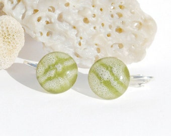 Clip-On Studs, Fused Glass Jewelry, Fused Glass Earrings, Glass Earrings, Pastel, Spring Colors, Bubbles, Round Earrings (Item #30732-E)
