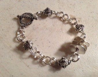 Silver Bracelet - Chainmaille Jewelry - Funky Jewellery - Fashion - Everyday - Wire Wrapped